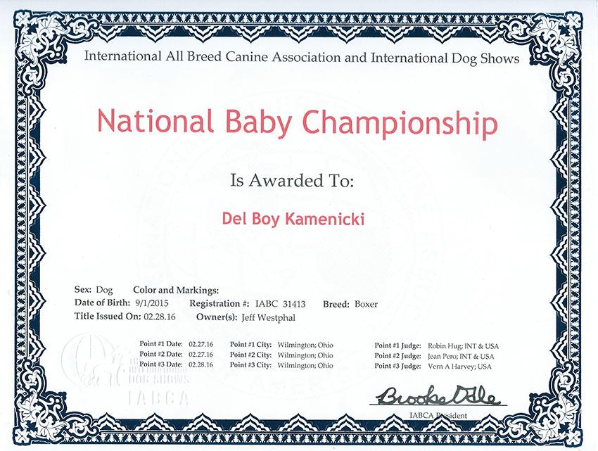 Gunner National Baby Champ certificate